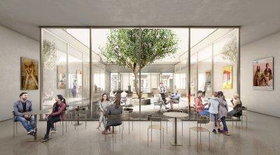 Er komt een ruime foyer met onthaal en museumshop, een patio met daarachter het café en een overdekte verbinding met het achterliggende gebouw.